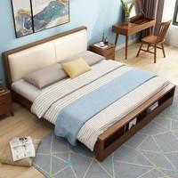 美天乐  北欧实木床现代简约双人1.8米1.5米小户型日式主卧高箱储物婚床(1.8*2米 床)