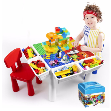 VANGO 万高 多功能积木桌 小颗粒底板+2把椅子+460颗小颗粒