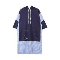 a02 a02 2018夏季女纯棉连帽宽松休闲卫衣裙DTT5A0111DR宝蓝色 M (M、宝蓝色)