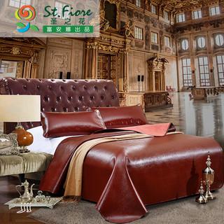 富安娜出品 圣之花头层真皮天然清凉经典牛皮软席3件套 1.5米床