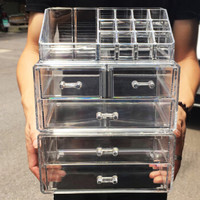 透明化妆品收纳盒口红首饰收纳盒桌面整理盒带抽屉 6406两层三抽