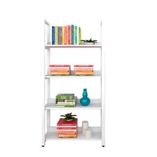 千意爱家居 简易钢木书架四层书架客厅储物架卧室书房展示架 白色 SJ-4010