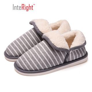 INTERIGHT 北欧长毛绒系列 舒适保暖包根棉拖鞋女款