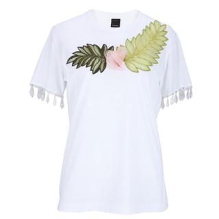 PINKO 女士白色棉质绣花短袖T恤 1B135D 5071 Z04 M