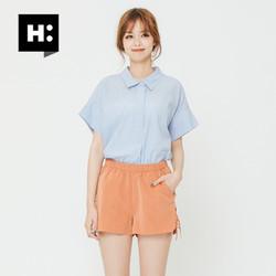 H:CONNECT夏季新款衬衫韩国学院风条纹个性后绑带蝴蝶结衬衣