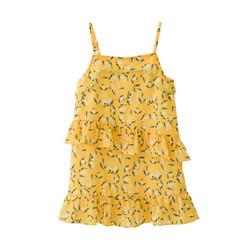弗萝町Flordeer 法国童装女童连衣裙儿童碎花裙子中大童雪纺吊带裙F71069 黄色 110