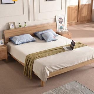 恒兴达 白橡木床 1.8*2米原木色 单床
