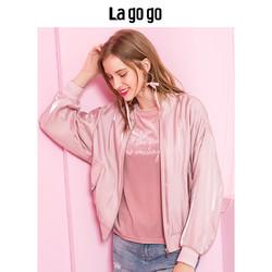 Lagogo2019春秋装年时尚粉色宽松棒球服落肩长袖夹克外套女