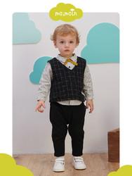 moimoln小云朵套装时尚潮流男宝宝秋装长袖三件套儿童洋气套装秋