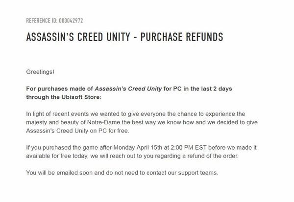 本周购买《刺客信条:大革命》的玩家将自动退款,育碧捐出50万修复巴黎圣母院