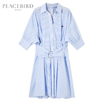 PEACEBIRD 太平鸟 女韩版中长款宽松POLO领衬衫棉连衣裙 AWFA82372 (蓝色条纹、M)