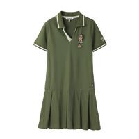 TEENIE WEENIE 维尼熊 女装v领短袖polo领连衣裙TTOM83701A