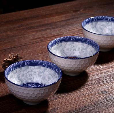 当当优品 陶瓷餐具四件套 青花系列(4.5寸碗*2只+竹筷*2双)