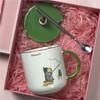 卡通带盖带勺陶瓷杯+不锈钢勺 400ml 14.9元包邮(需用券)