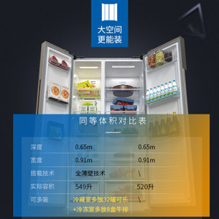 Meiling 美菱 BCD-549WUPCX 风冷无霜对开门冰箱 (玫瑰金、549S升、2级、变频)
