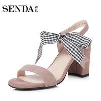 Senda/森达2018夏秋新款专柜同款一字带蝴蝶结女高跟凉鞋VIA33BL8