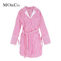 MO&Co. 摩安珂 2018春季女条纹衬衫可调节腰带连衣裙MA181DRS129