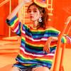 短袖T恤秋装女2018新款夏装宽松韩版中长款彩虹条纹下衣失踪上衣 99.99元