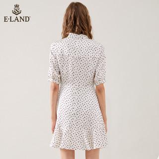 E·LAND 衣恋 女波点图案系带领结收腰连衣裙EEOW82509A