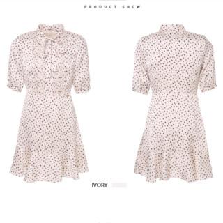 ELAND春夏新款波点蝴蝶结领结收腰显瘦法式连衣裙女EEOW82509A