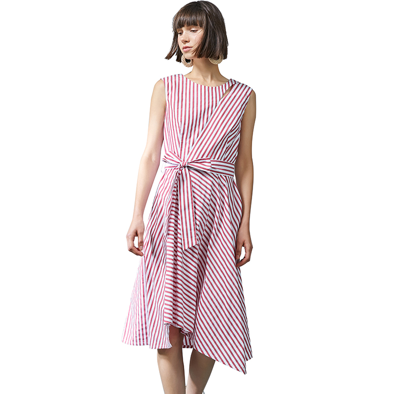 GLORIA 歌莉娅 女条纹下摆连衣裙配腰带184P4A26A