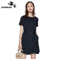 GIRDEAR 哥弟 女新款短袖连衣裙系腰扣带气质淑高腰裙8500012