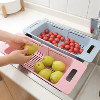 可伸缩调节水槽伸缩洗菜篮