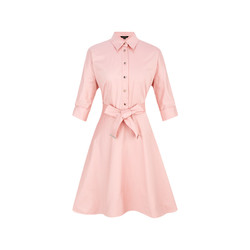 SCOFIELD女装通勤淑女纯色修身腰带中长连衣裙SFOW86206L