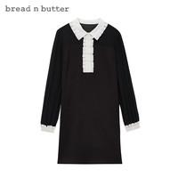 bread n butter 面包黄油 女透视雪纺拼接中裙小翻领长袖连衣裙8SBEBNBDRSW509000