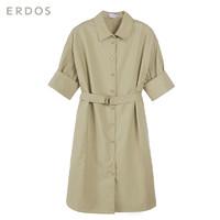 ERDOS 鄂尔多斯 女纸棉时装系列纯色纯棉短袖衬衫连衣裙女E275I3010