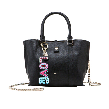 ELLE 她 女 创意挂件链条包 牛皮斜挎手提包 E28F1280897BK 黑色