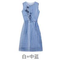ERDOS 鄂尔多斯 女法国条纹印花苎麻无袖收腰连衣裙 E285IB002
