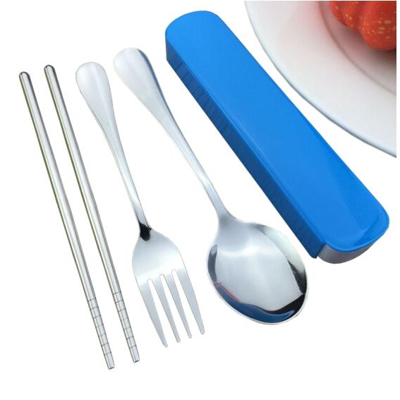绿盒子 不锈钢筷勺叉子 三件套