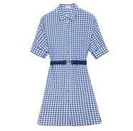 ERDOS 鄂尔多斯 女进口格子宽松棉质腰带衬衫连衣裙 E285I3032