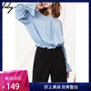 Lily 118130C8210 春新款女装喇叭袖纯色宽松圆领插肩袖雪纺衫 149元