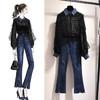 春装时尚衬衣 牛仔裤女两件套 189元