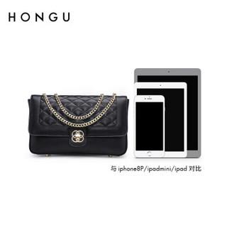 HONGU 红谷 女士 小香风菱格牛皮 单肩包 菱格包 H51705331 漆黑