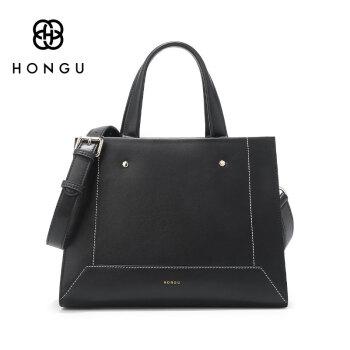 HONGU 红谷 女 百搭个性牛皮斜挎包手提包 H5141352 漆黑