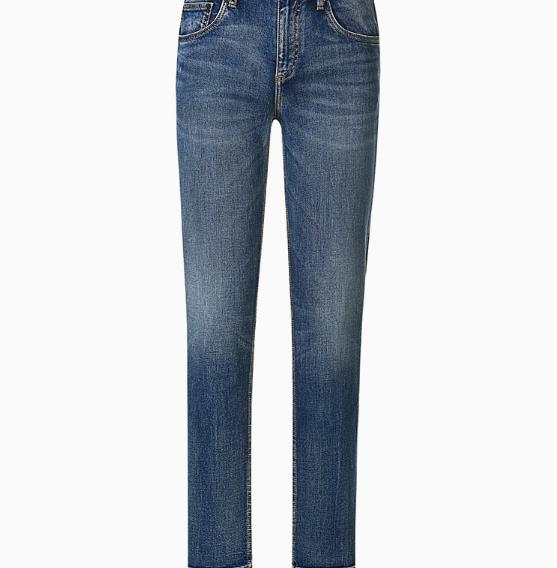 InteRight 纯棉男士 经典欧式五袋款  修身牛仔裤 (32、中蓝)