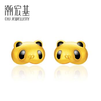 CHJ 潮宏基 EEG30000016 熊猫耳钉 (黄金色、1*0.6cm、1.2g)