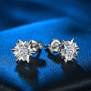 蓝色多瑙河 18K金钻石耳钉女耳饰 雪花耳钉 HD025R 一对12分