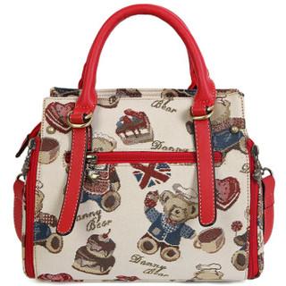 DANNY BEAR 丹尼熊 美食熊系列 女休闲帆布邮差包斜挎包 DBWB8115021-169W 白色配红色