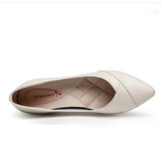 红蜻蜓 女士皮鞋 (白色、38)