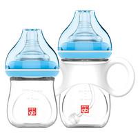 gb 好孩子 拥抱系列 P80071 宽口径玻璃奶瓶 120ml+180ml 粉蓝