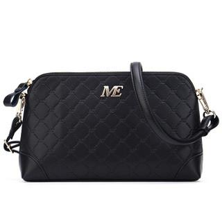 稻草人(MEXICAN)包包女包斜挎包欧美时尚牛皮单肩包贝壳包菱格小包MYH70417L-06黑色