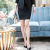 初申 2019春秋季新款修身长袖小西装女士通勤职业套装SWXF191101-2黑色短裙L