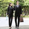 初申 2019春季新款男女同款职业装女装套装银行公务员面试正装男西服+西裤两件套SWXZ188201黑色女包邮