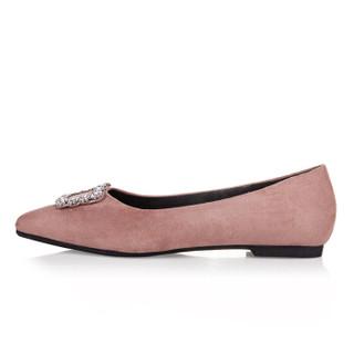 YIYA 毅雅 女士 水钻 平底鞋 YD8AC5337 粉色、39