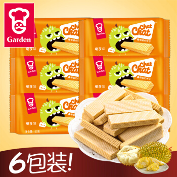 Garden 嘉顿 威化饼干 (300g、榴莲味、袋装、6包)