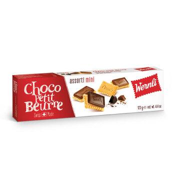 瑞士进口Wernli万恩利巧客佩黄油黑巧克力牛奶巧克力迷你饼干125g